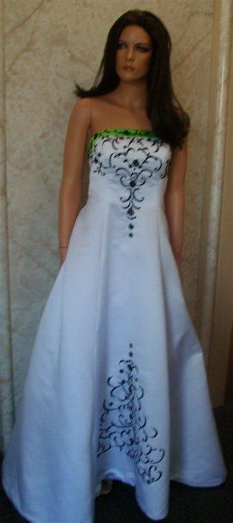green  white wedding dresses