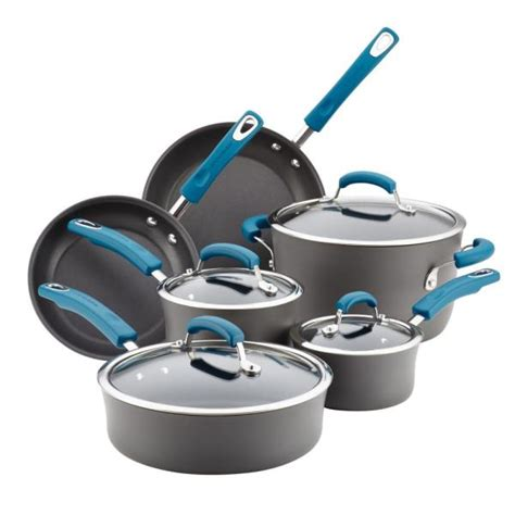 gotham steel hammered copper  piece  stick ti ceramic cookware set  lids