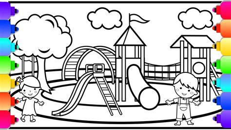 playground coloring pages learn how to draw and color a playground coloring page