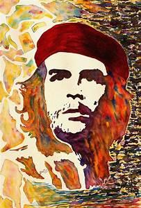 Che Guevara Original Watercolor Painting by Georgeta Blanaru