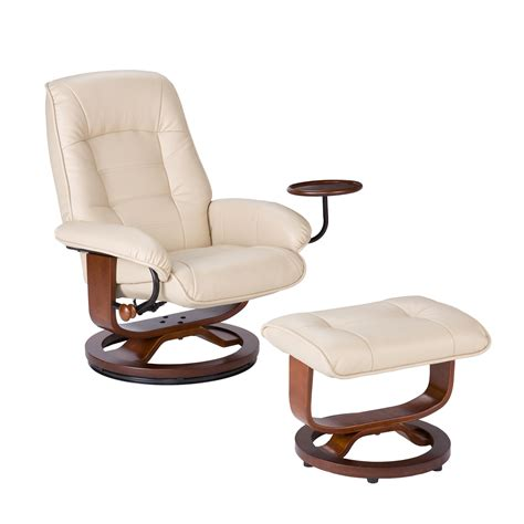 bonded leather recliner and ottoman taupe