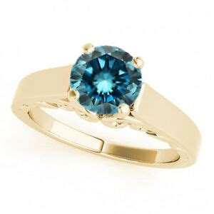 1 carat round blue diamond solitaire engagement ring best
