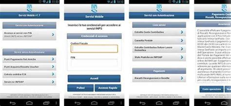 cassetto previdenziale gestione separata inps servizi mobile f24 stato pratiche app android