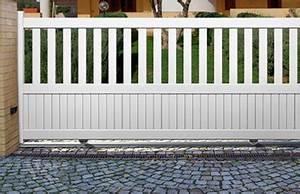 Portail Coulissant Bricoman : portail coulissant blanc pas cher prix portail bois ~ Dallasstarsshop.com Idées de Décoration