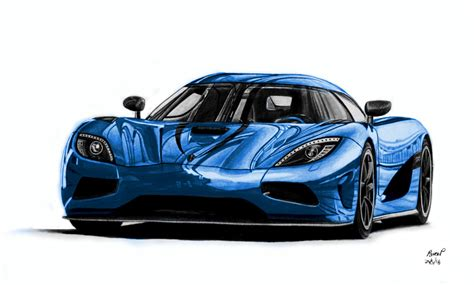Koenigsegg Agera R Drawing (blue Version) By Pavee12120 On