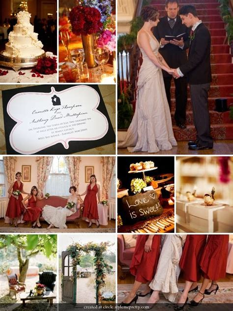 vintage themed wedding red gold black and white