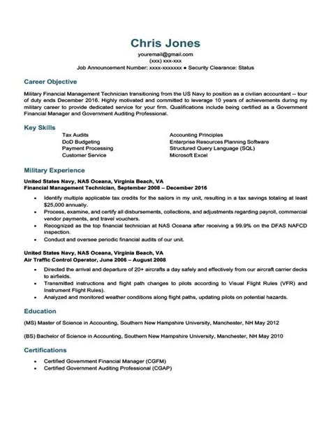 To Civilian Resume by Career Situation Resume Templates Resume Companion