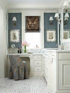 small makeup area with bathroom vanity design and open