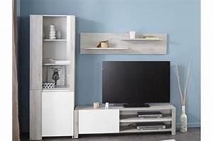Meuble TV Mural Design Bois Et Laque Blanche