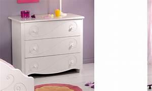 Commode Laqué Blanc : commode chambre enfant blanc laque 3 tiroirs mathilde ~ Teatrodelosmanantiales.com Idées de Décoration