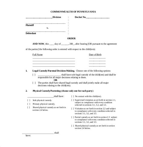 Custody Agreement Templates | beneficialholdings.info