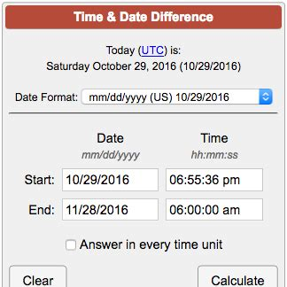 time date difference calculator