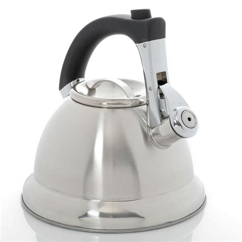 coffee collinsbrook  quart stainless steel tea kettle silver
