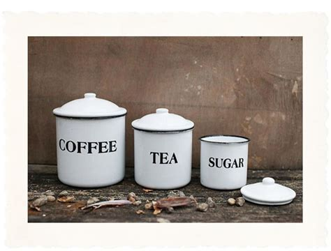 Country Kitchen Canister Set with Black Letter Decor