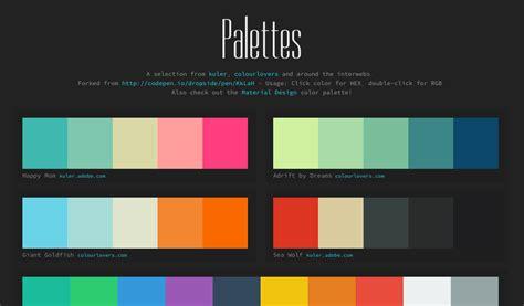 html color palette color palettes