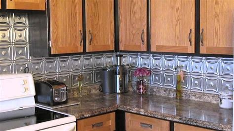 metal backsplash improved  kitchen youtube