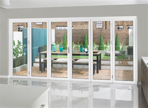 white bifold doors supreme aluminium bi fold doors 16ft white open left