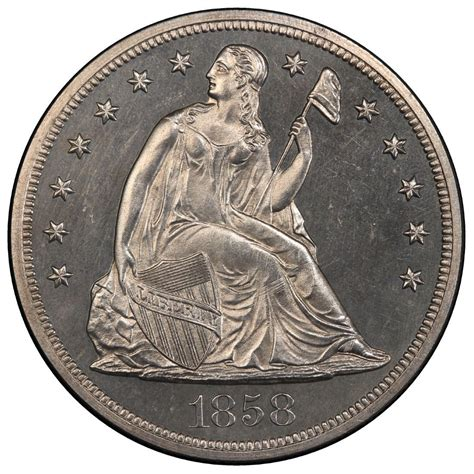 liberty dollar coin 1858 seated liberty silver dollar values and prices past sales coinvalues com