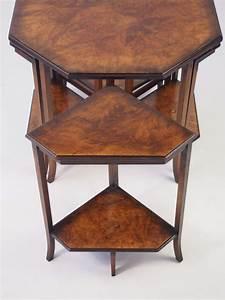 Nest, Of, 5, Vintage, Art, Deco, Walnut, Tables