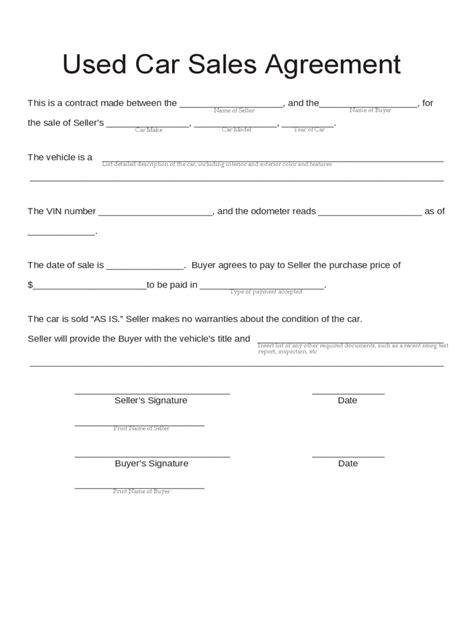 used car bill of sale form pdf used car bill of sale exle