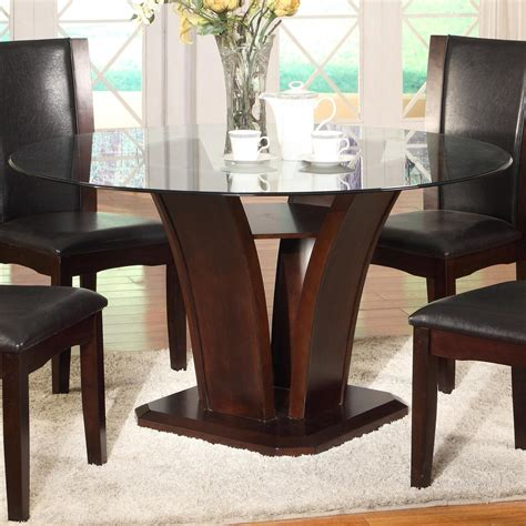 crown mark camelia espresso  glass top dining table
