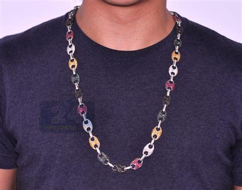 white gold  ct multicolor diamond mens link chain