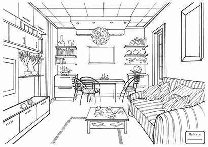 Coloring Pages Living Kitchen Drawing Interior Perspective