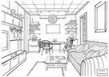 Coloring Pages Living Drawing Kitchen Interior Printable Ball Zeichnen Perspective Luminous Zimmer Sketches Drawings Modern Adult Ausmalen Books Ausmalbilder Mit sketch template