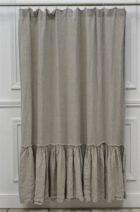 linen shower curtain vintage ruffle washed by fullbloomcottage