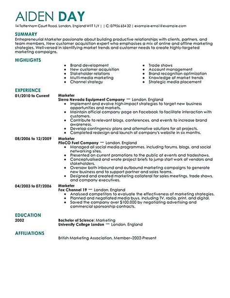 Marketing Cv by Best 25 Marketing Resume Ideas On Creative Cv