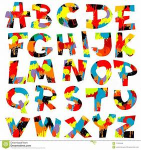 letters of alphabet with paint splashes stock illustration With painting alphabet letters