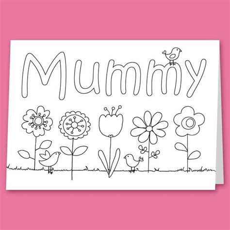 childrens colour   card  mummy nana  grandma