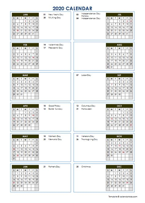 yearly calendar template vertical design