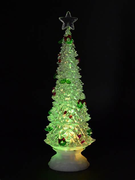 rotating led illuminated tree snow globe ornament 35cm