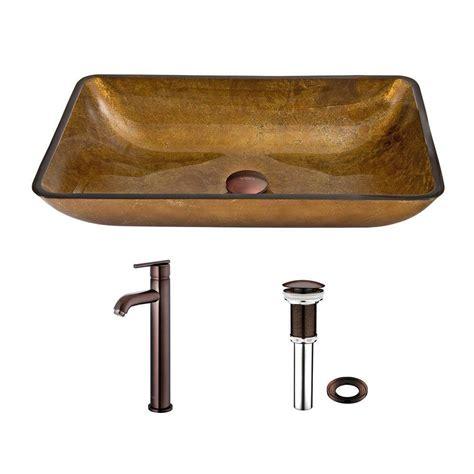 Rectangle Vessel Sink Home Depot by Vigo Rectangular Glass Vessel Sink In Copper And Seville
