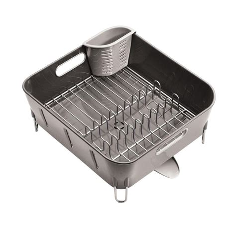 dish drainer rack simplehuman compact dish rack in grey plastic kt1106 the