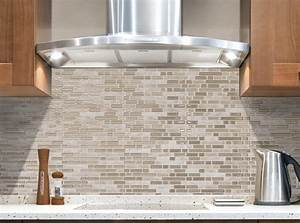 Simple kitchen ideas with brown bellagio sabbia peel stick for Stick on backsplash white
