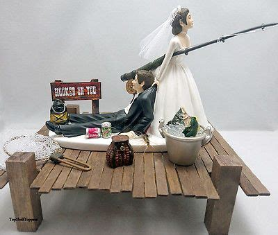 hooked   fishing wedding cake topper bride  groom