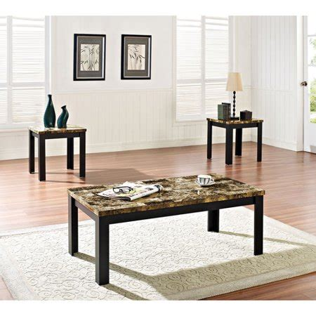 Meredith discovered trove and used it to score a $20 coffee table she needed for a pretty crafty diy project! Acme 3 Piece Finely Coffee and End Table Set, Dark Brown Faux Marble & Black - Walmart.com