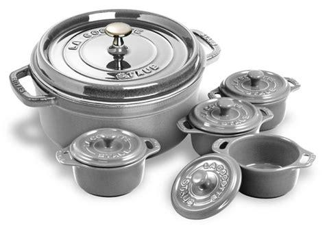 staub  dutch oven   bonus mini cocottes  quart graphite gray cutlery