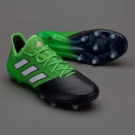 adidas ace  leather fg mens boots firm ground solar greenwhitecore black
