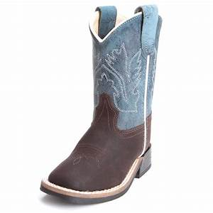 Old West Toddler Boys Square Toe Cowboy Boots Navy