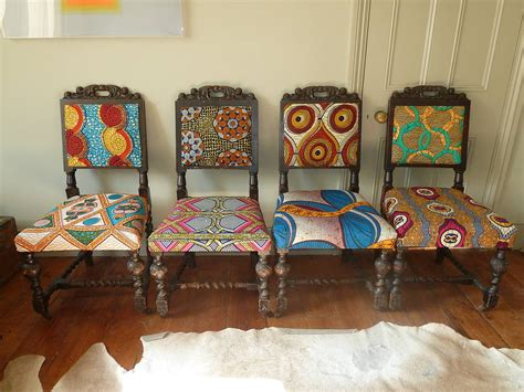 set of four tribal print covered chairs by blanche dlys