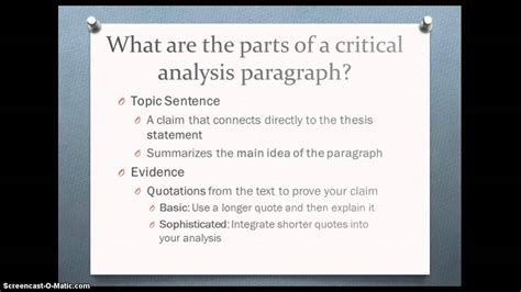 critical analysis body paragraph tutorial youtube