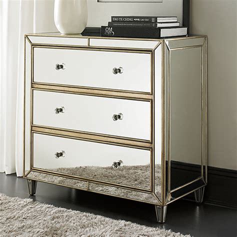Hammary Hidden Treasures 3 Drawer Chest  Mirrored. Gold Sofa. Dining Room Sideboard. Bookcase Wall Unit. Lighted Vanity Mirror. Decorative Objects. Listello Tile. Beach Themed Bedroom. Red Pendant Lights