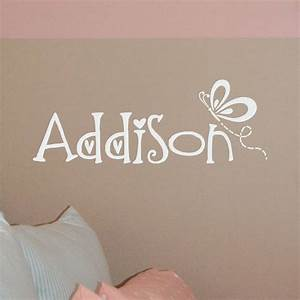 butterfly name decal butterfly wall decal butterfly With large vinyl monogram letters for wall