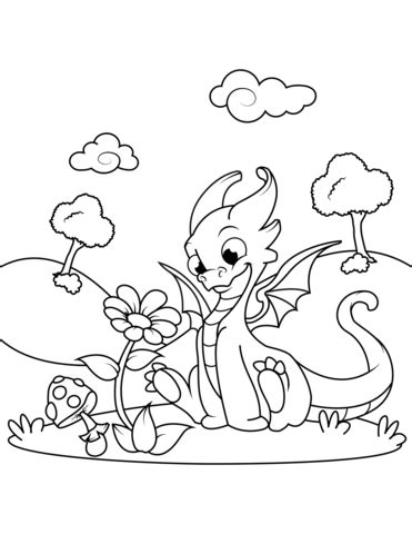 Cute Dragon Sniffing Flower coloring page Free Printable