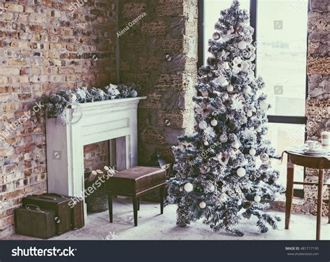 Home Interior Tree Picture : Winter Home Decor Christmas Tree Loft Stock Photo
