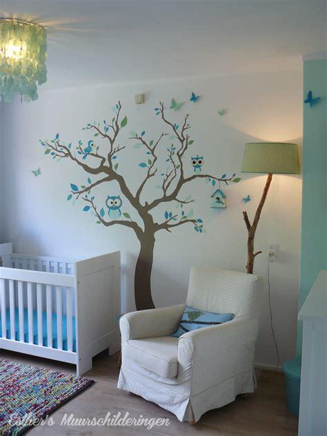 behang babykamer boom muurschildering boom voor de babykamer of kinderkamer