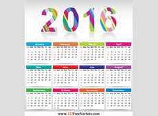 Free Colorful Calendar 2016 Vector Template by